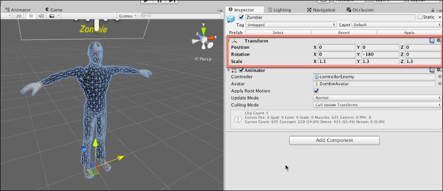 Getting started with the zombie Prefab - Mastering Unity 5 x