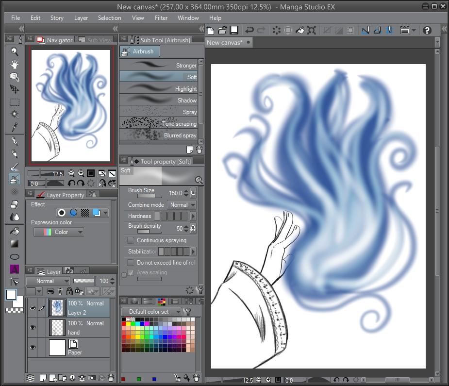 Coloring sparkly magic effects - Manga Studio Ex 5 Cookbook