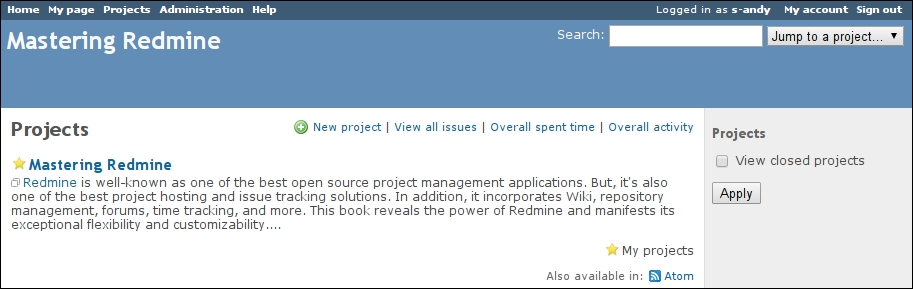 The project list - Mastering Redmine - Second Edition