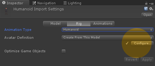 Configuring generic and humanoid rigs - Unity 5 x Animation