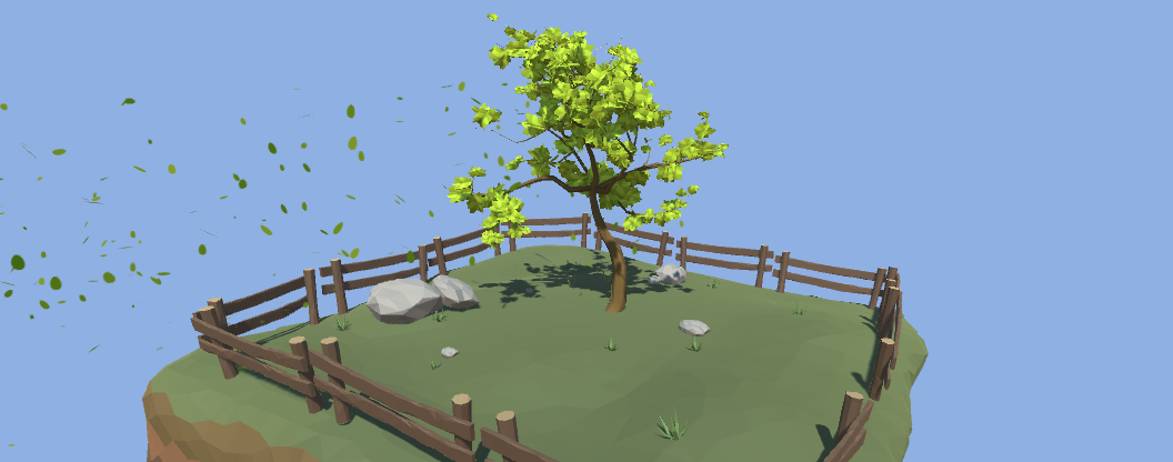 Using wind emitters to create motion for foliage and