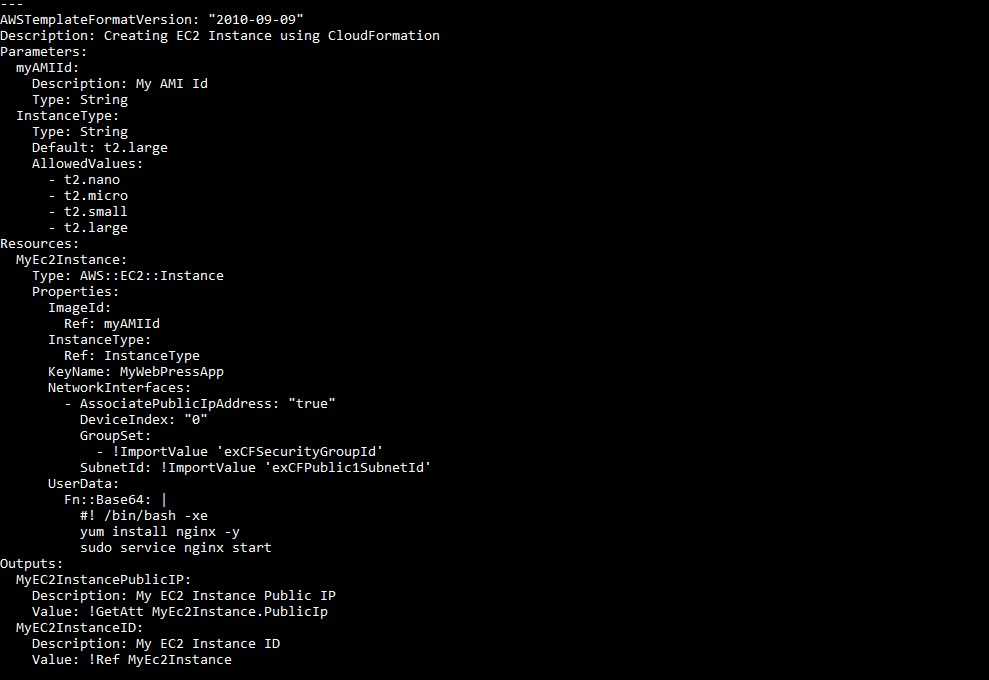 Creating an EC2 instance using CloudFormation - AWS Tools for