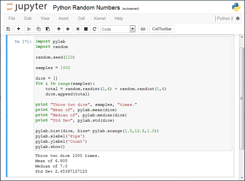 Python random numbers in Jupyter - Learning Jupyter