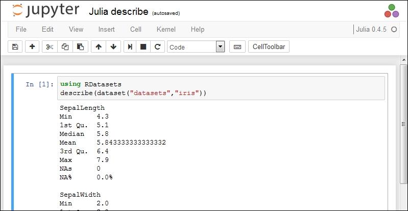 Standard Julia capabilities - Learning Jupyter