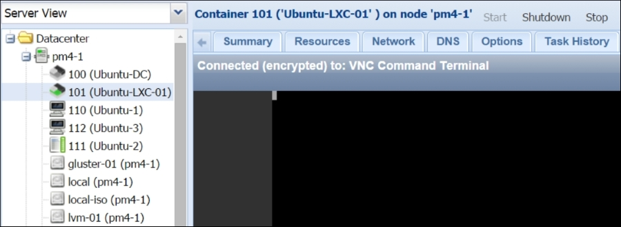 Accessing an LXC container - Mastering Proxmox - Second Edition