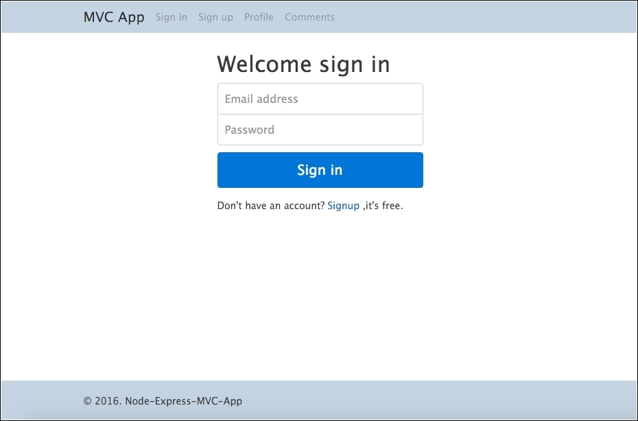 Adding templates for login, sign-up, and profile - Node js 6 x