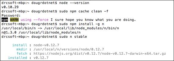 Upgrading or installing Node js - Learning Grunt