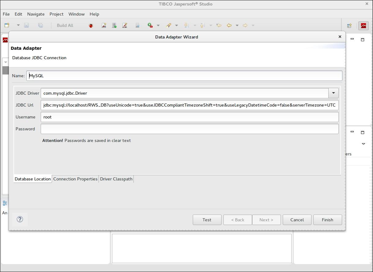 Configuring MySQL Data Adapter in Jaspersoft Studio - Building