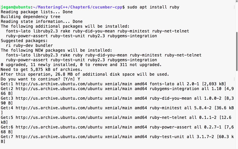 Installing cucumber-cpp in Ubuntu - Mastering C++ Programming