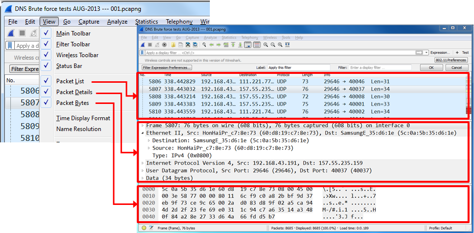 Configuring the start window - Network Analysis using