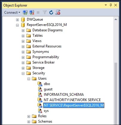 Configuring the service account of Reporting Services - SQL