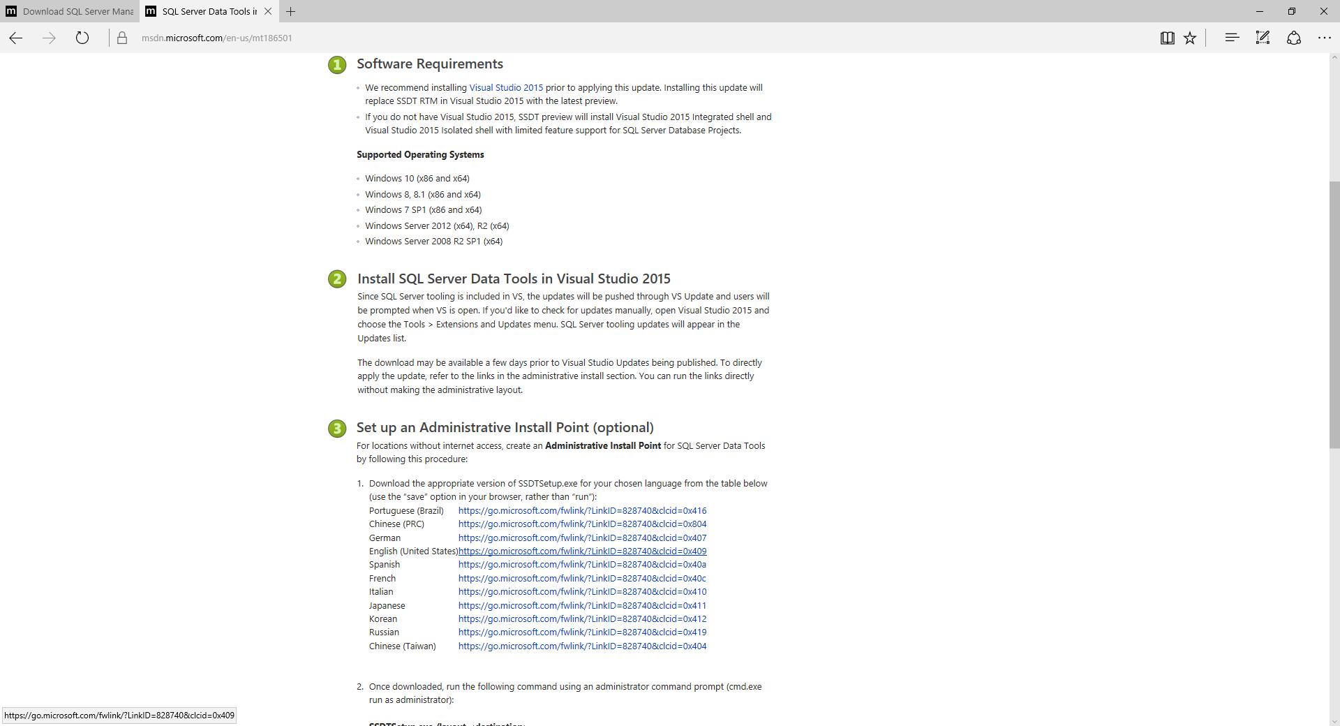 SQL Server Data Tools installation - SQL Server 2017 Integration