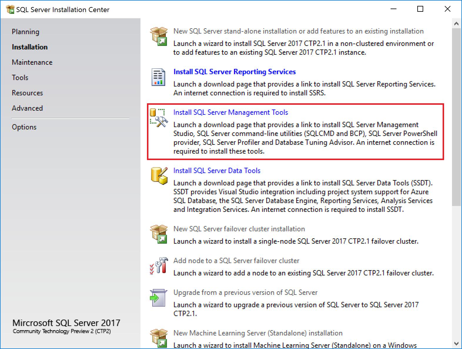 SQL Server client tools setup - SQL Server 2017 Integration