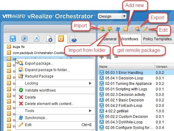 Working with packages - VMware vRealize Orchestrator