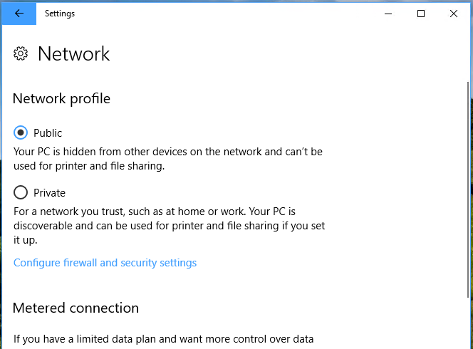 windows 10 cant change public network to private