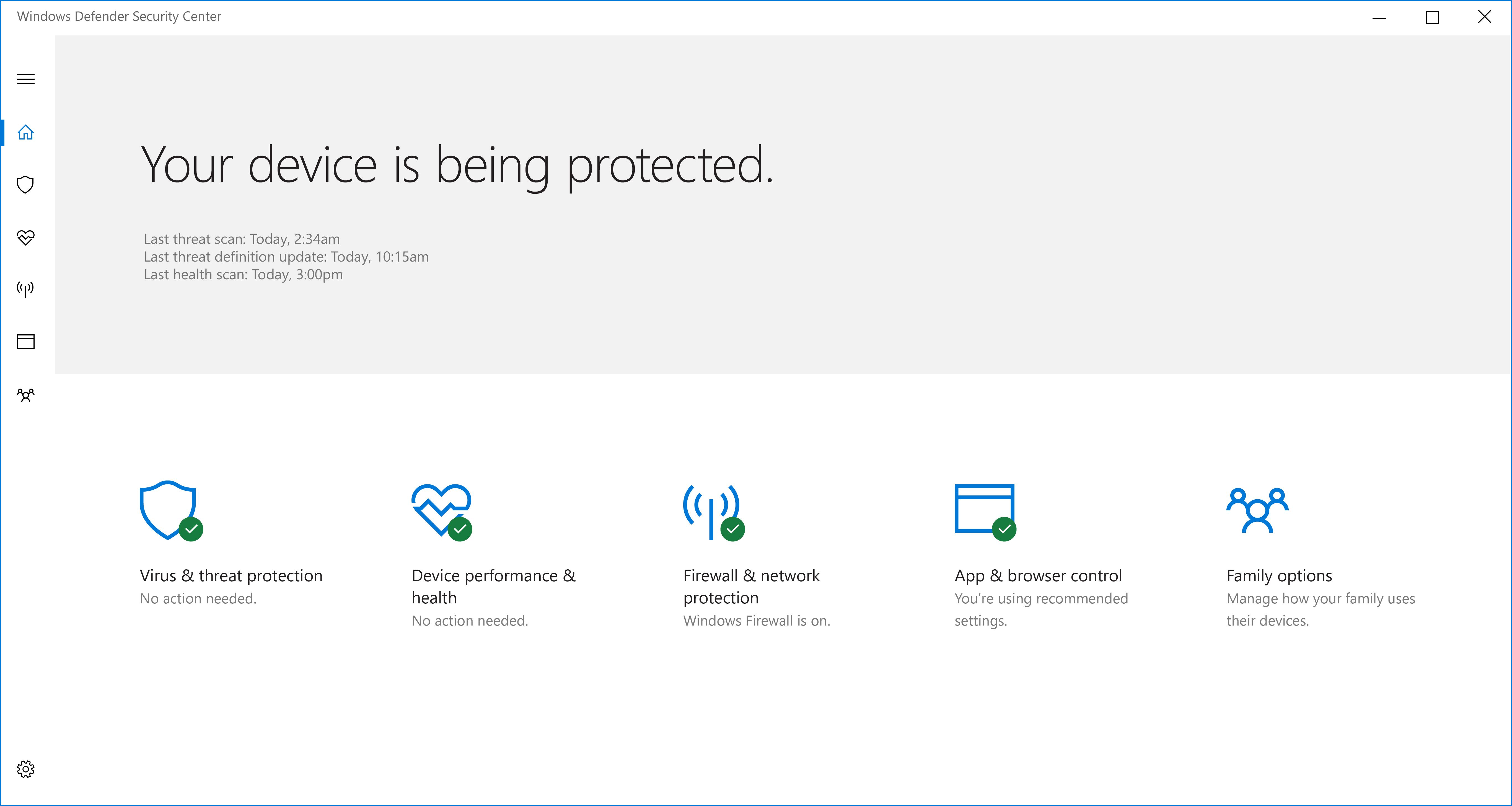 Windows Defender Security Center - Windows 10 for Enterprise