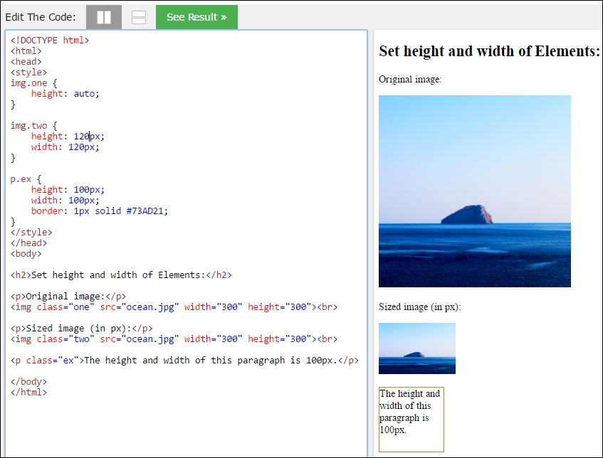 Setting the height and width of an image element with CSS