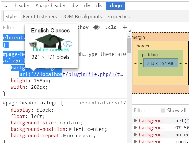 Customizing The Height And Width Of An Element In Moodle On Premises With Css Moodle Theme Development