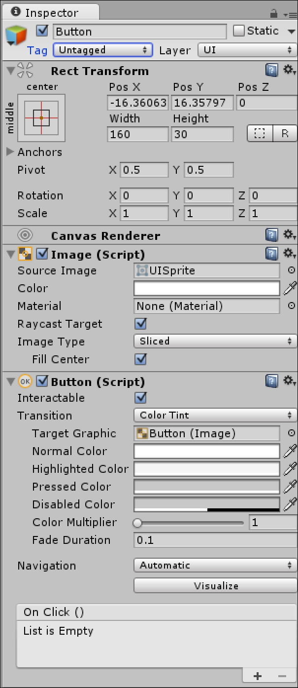 UI Buttons - Mastering Unity 2D Game Development - Second