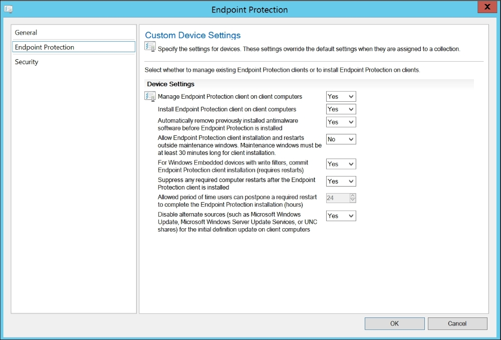Best practices for Endpoint Protection in Configuration