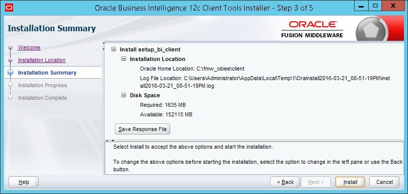 Installing the client software - Oracle Business Intelligence