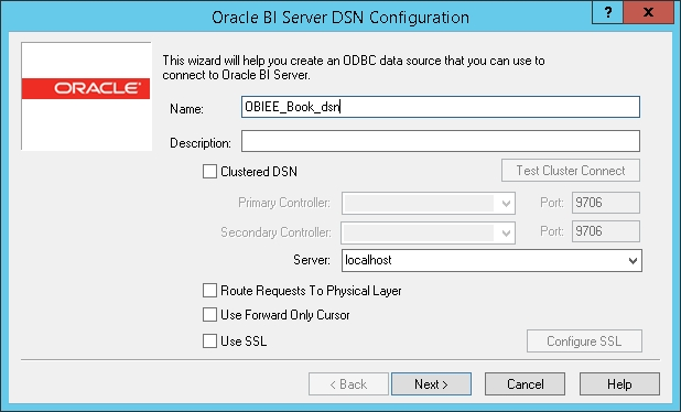 Configuring a connection to the OBIEE Server - Oracle