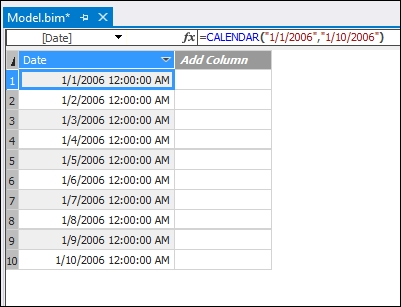 Using the CALENDAR function - Tabular Modeling with SQL