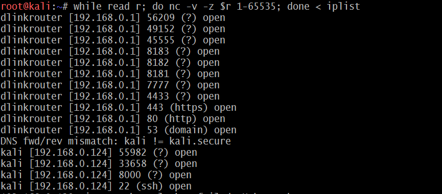 Writing your own port scanner using netcat - Mastering Kali