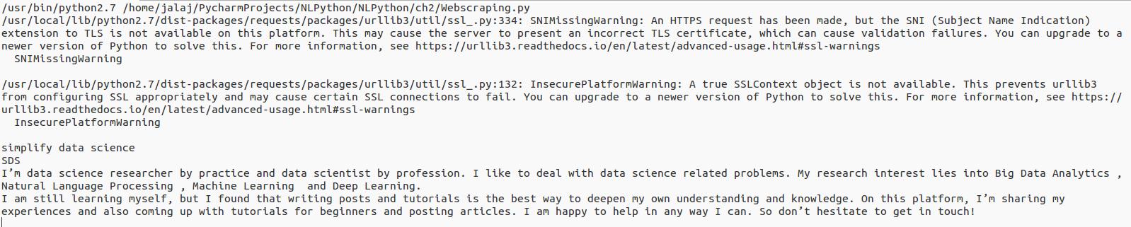 Web scraping - Python Natural Language Processing