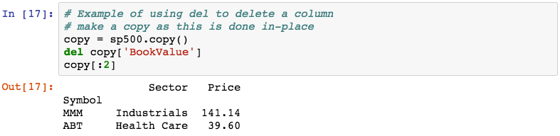 Deleting columns - Learning pandas - Second Edition