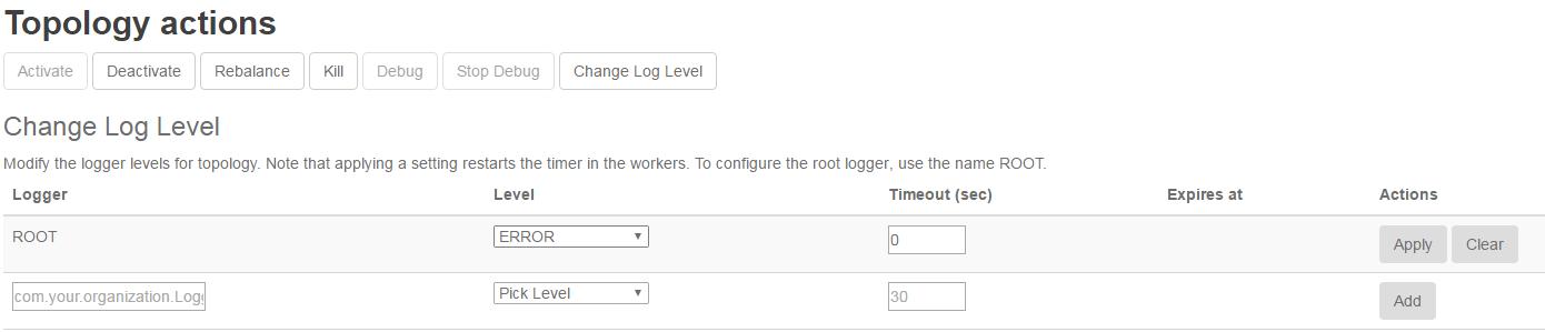 Dynamic log level settings - Mastering Apache Storm
