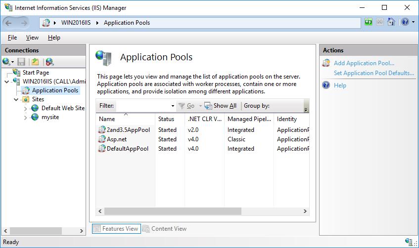 Configuration of application pool on IIS 10 0 - Microsoft