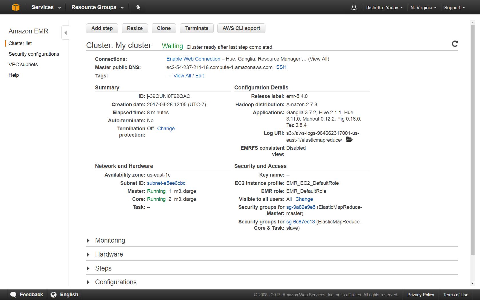 Deploying Spark using Amazon EMR - Apache Spark 2 x Cookbook