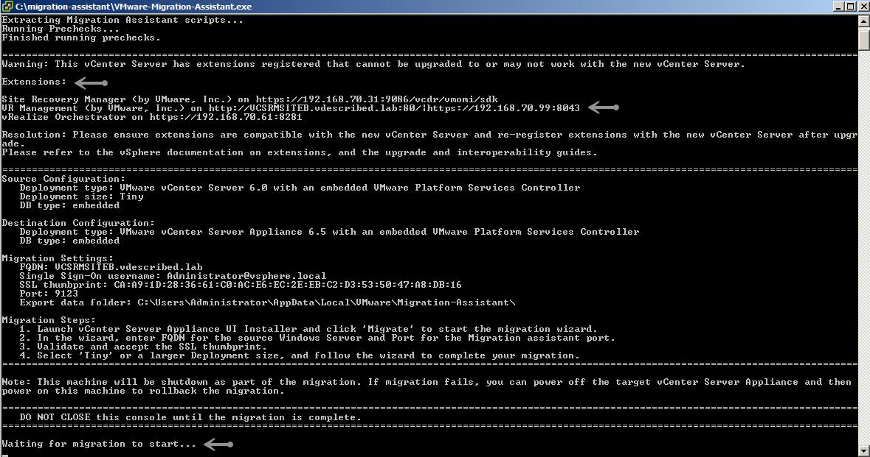 Using the vCenter 6 5 Migration Assistant - VMware vSphere