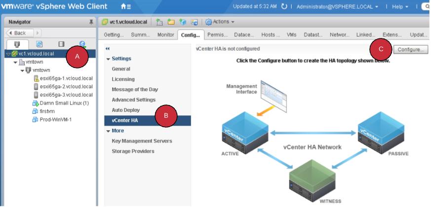 Configuring vCenter Native High Availability - VMware