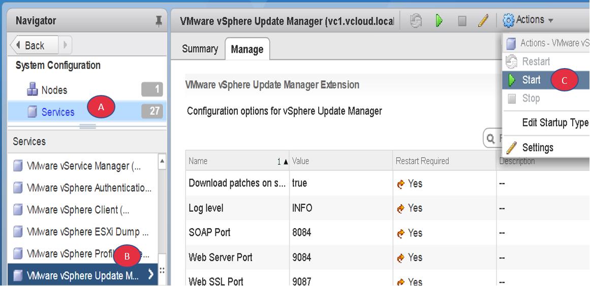Activating vSphere Update Manager in vCenter Server