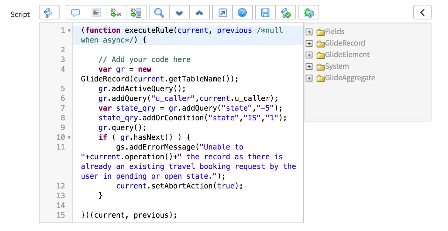 Syntax editor - ServiceNow Application Development