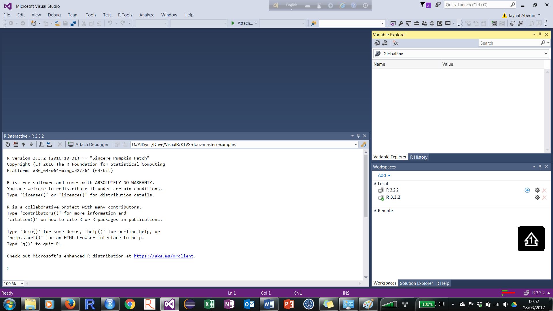 Installing and configuring R tools for Visual Studio in