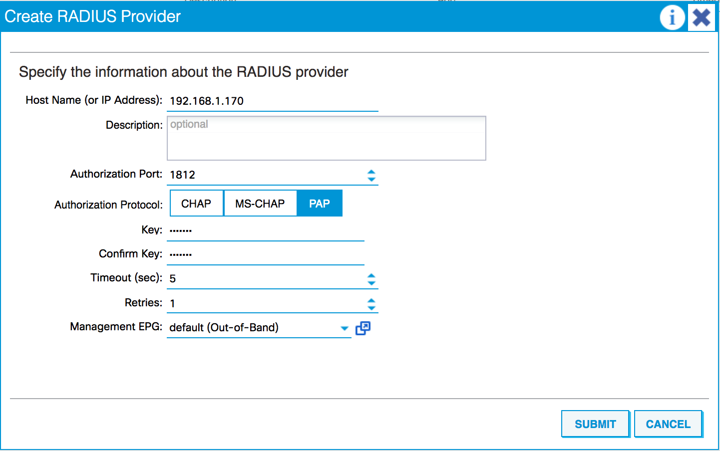 Connecting to a RADIUS server - Cisco ACI Cookbook