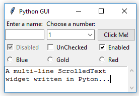 Using scrolled text widgets - Python GUI Programming