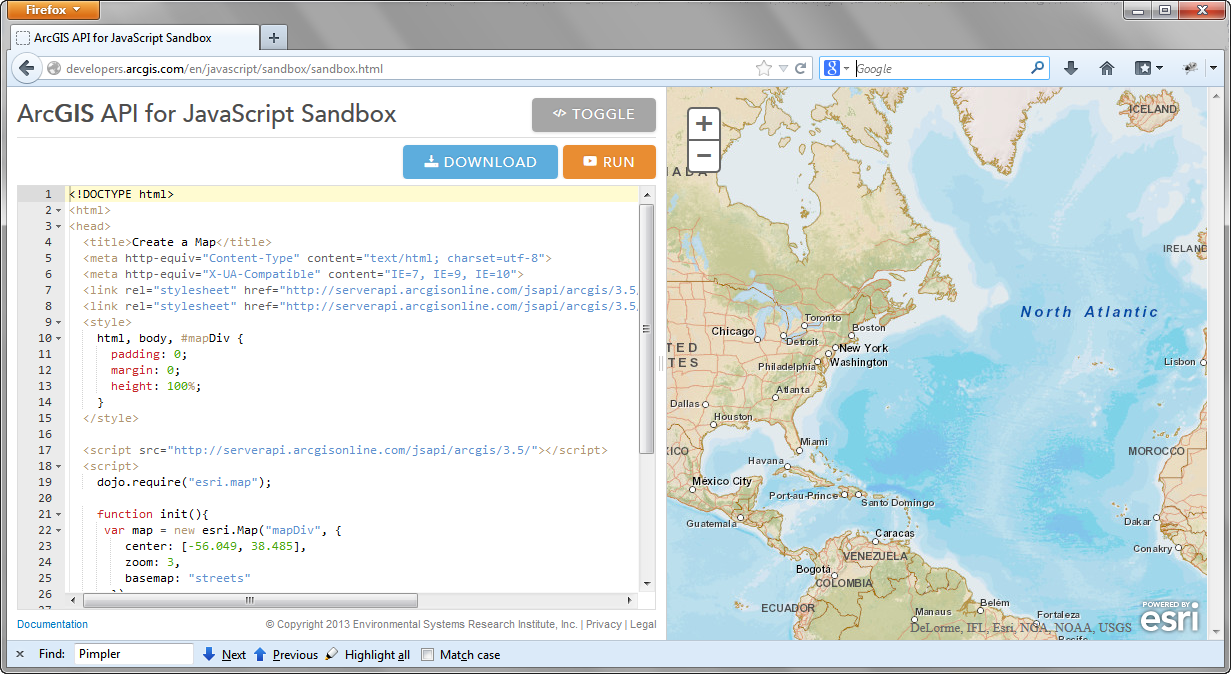 The ArcGIS API for JavaScript Sandbox - Building Web and Mobile