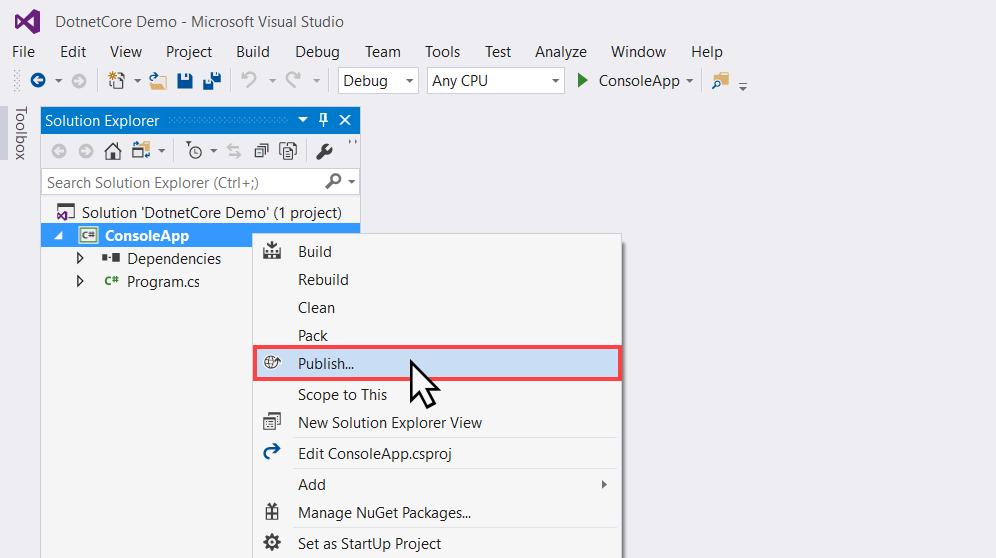 Publishing a  NET Core application using Visual Studio 2017