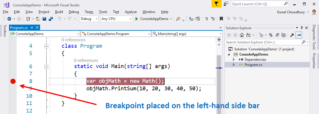 Debugging C# source code using breakpoints - Mastering