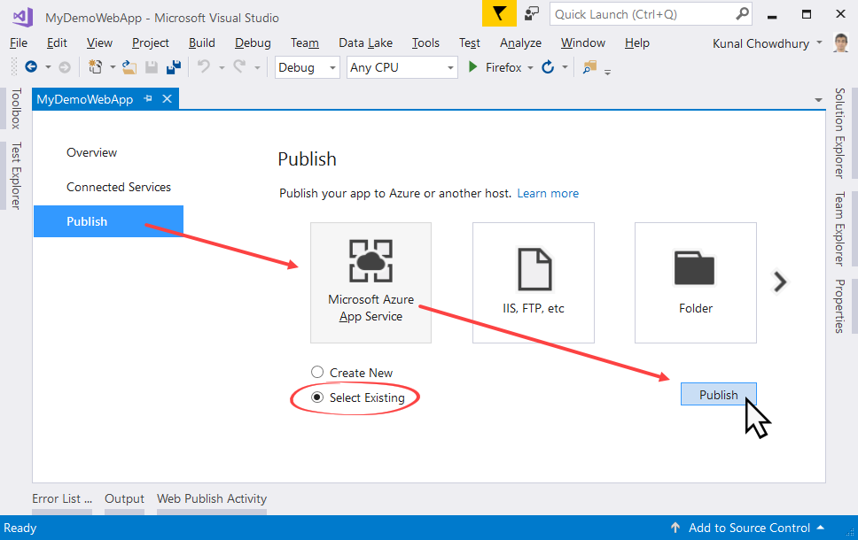 Updating an existing Azure website from Visual Studio