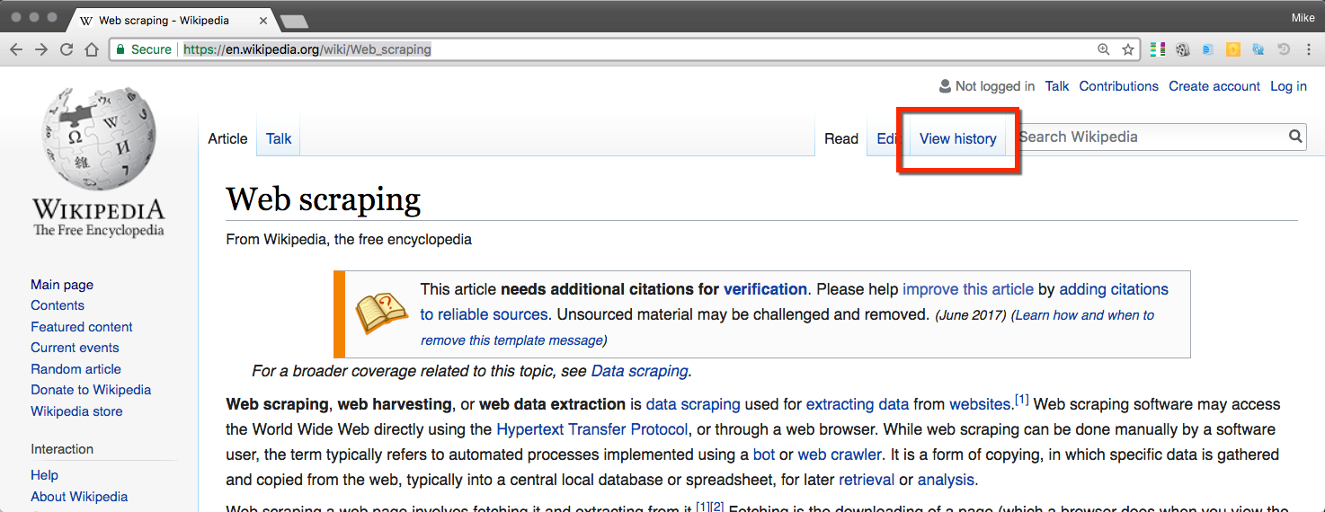 How to collect IP addresses of Wikipedia edits - Python Web