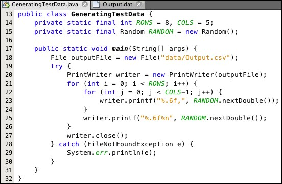 Generating test datasets - Java Data Analysis