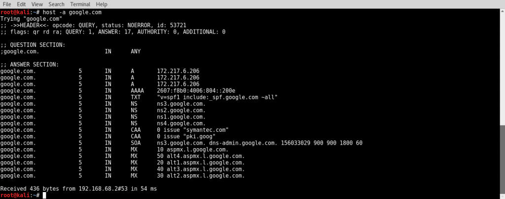 Enumerating DNS using the host command - Kali Linux Network