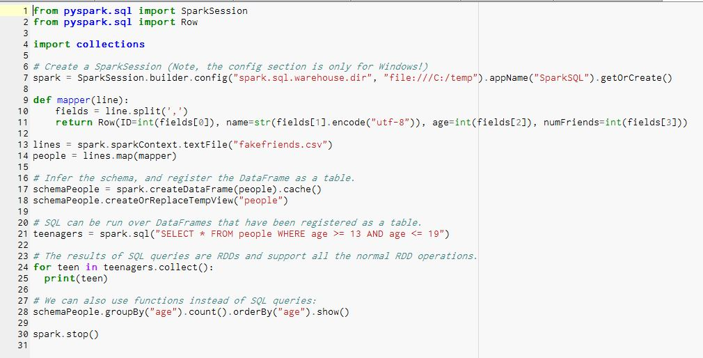 Executing SQL commands and SQL-style functions on a DataFrame