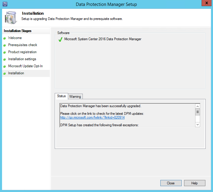 Upgrading to the latest release of DPM - Microsoft System Center