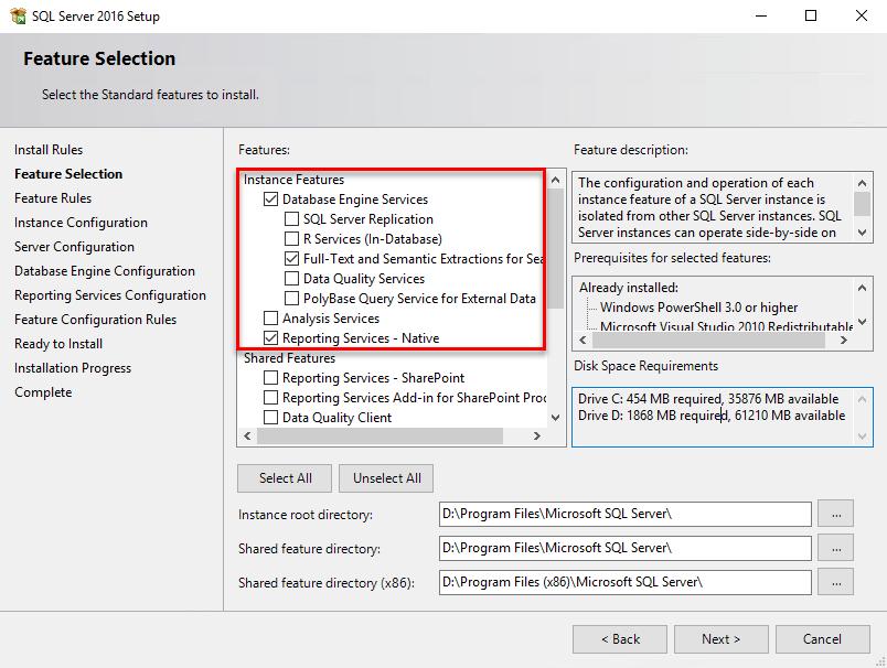 Installing SQL Server for the DPM database - Microsoft